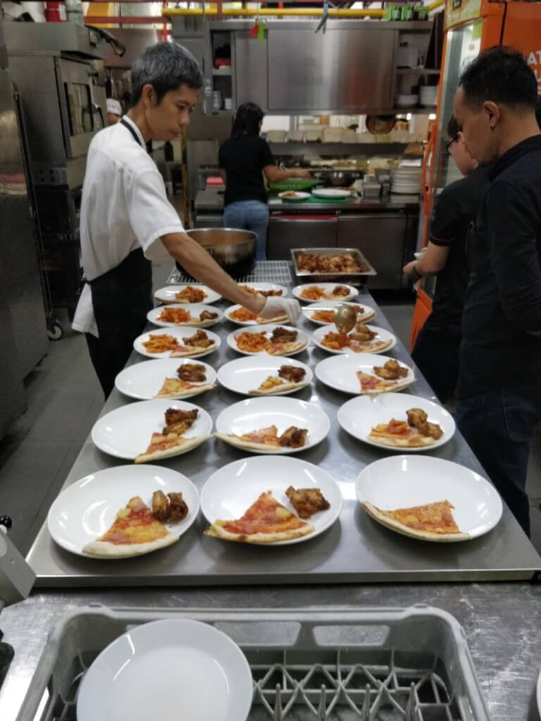Plating of food for event