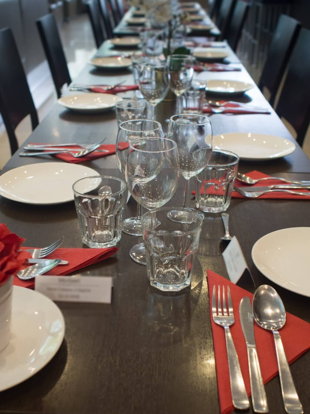 Table setting for event at a restaurant