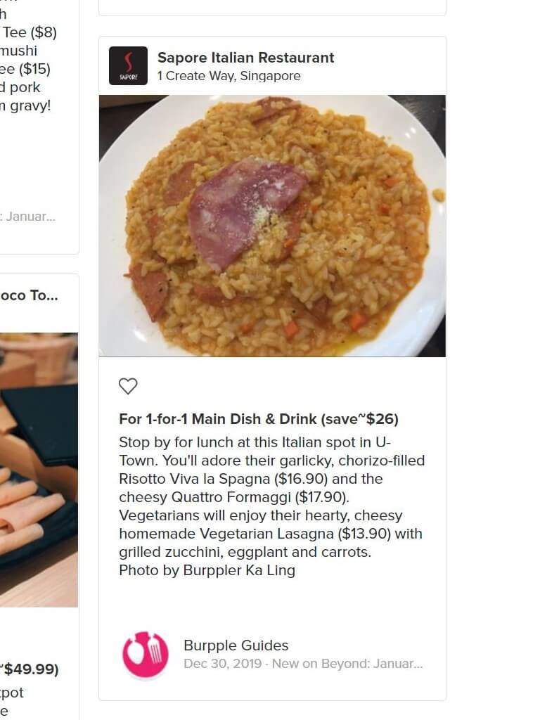 Risotto with promotion text